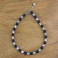 Onyx and ceramic beaded necklace, 'Night Lotus' - Beaded Ceramic and Black Onyx Strand Necklace