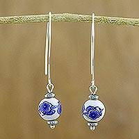 Hematite and ceramic bead dangle earrings, 'Blue Plum Blossom' - Ceramic Bead and Hematite Earrings with Silver Hooks