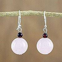 Rose quartz and garnet dangle earrings, 'Sweet Candy' - Rose Quartz and Garnet Beaded Dangle Earrings