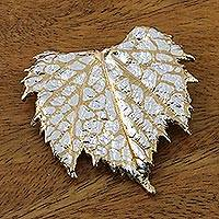 Gold and silver plated natural leaf brooch, 'Grape Leaf Harmony' (Thailand)