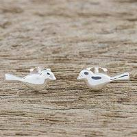 Sterling silver stud earrings, 'Dainty Birds' - Bird-Shaped Sterling Silver Stud Earrings from Thailand