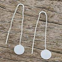 Sterling silver threader earrings, 'Tiny Moons' - Circular Sterling Silver Threader Earrings from Thailand