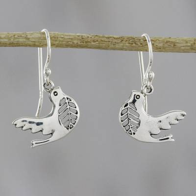 Sterling silver dangle earrings, 'Free Doves' - Dove-Shaped Sterling Silver Dangle Earrings from Thailand