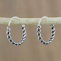 Sterling silver hoop earrings, 'Trendy Chain' - Hand Crafted Sterling Silver Hoop Earrings from Thailand