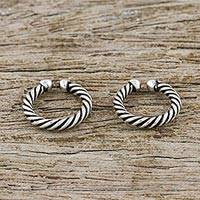 Sterling silver ear cuffs, 'Sleek Twist' - Pair of Modern Thai Sterling Silver Ear Cuff Earrings