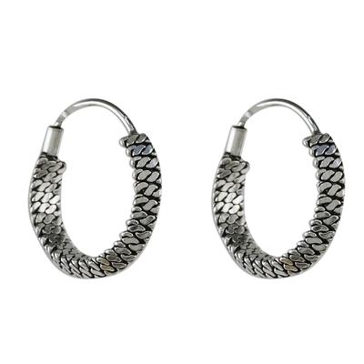 Chain Motif Sterling Silver Hoop Earrings from Thailand