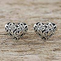 Sterling silver stud earrings, 'Petaled Hearts' - Floral Heart-Shaped Sterling Silver Earrings from Thailand