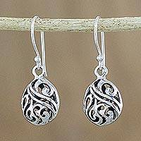 Sterling silver dangle earrings, 'Swirling Eggs' - Elegant Sterling Silver Dangle Earrings from Thailand