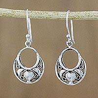Sterling silver dangle earrings, 'Cool and Delicate' - Artisan Crafted Sterling Silver Dangle Earrings