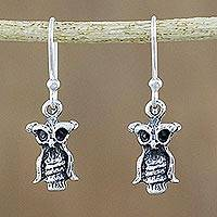 Sterling silver dangle earrings, 'Cute Owls' - Owl-Shaped Sterling Silver Dangle Earrings from Thailand