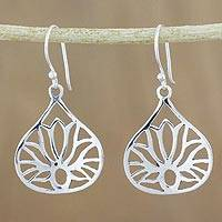 Sterling silver dangle earrings, 'Shimmering Lotus' - Lotus-Shaped Sterling Silver Dangle Earrings from Thailand