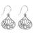 Sterling silver dangle earrings, 'Shimmering Lotus' - Lotus-Shaped Sterling Silver Dangle Earrings from Thailand (image 2a) thumbail