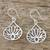 Sterling silver dangle earrings, 'Shimmering Lotus' - Lotus-Shaped Sterling Silver Dangle Earrings from Thailand (image 2b) thumbail