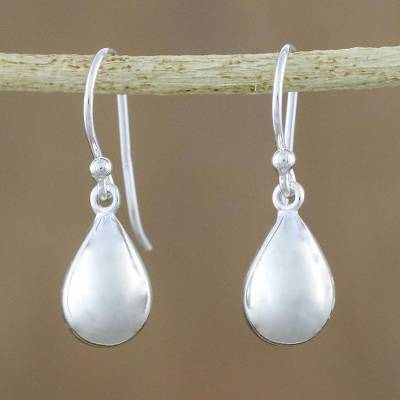 Sterling silver dangle earrings, 'Reflective Drops' - High-Polish Sterling Silver Dangle Earrings from Thailand