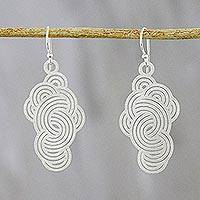 Sterling silver dangle earrings, 'Zen Clouds' - Cloud-Shaped Sterling Silver Dangle Earrings from Thailand