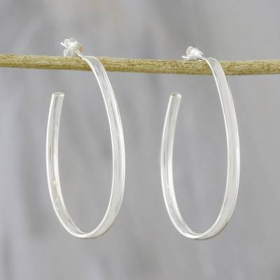 Sterling silver half-hoop earrings, 'Long Curves' - Long Sterling Silver Half-Hoop Earrings from Thailand
