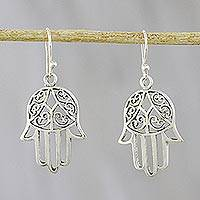 Sterling silver dangle earrings, 'Hamsa Soul' - Hamsa Sterling Silver Dangle Earrings from Thailand