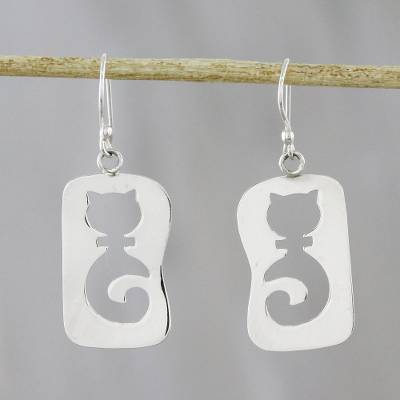 Sterling silver dangle earrings, 'Feline Silhouettes' - Cat-Themed Sterling Silver Dangle Earrings from Thailand