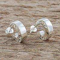 Sterling silver half-hoop earrings, 'Stellar Reflection' - Gleaming Sterling Silver Half-Hoop Earrings from Thailand
