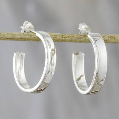 Sterling silver half-hoop earrings, 'Shiny Curves' - High-Polish Sterling Silver Half-Hoop Earrings from Thailand