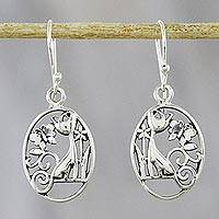 Sterling silver dangle earrings, 'Garden Friends' - Cat and Butterfly Sterling Silver Earrings from Thailand