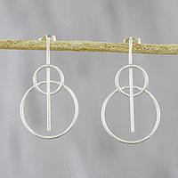 Sterling silver drop earrings, 'Rings of Light' - Circle-Motif Sterling Silver Drop Earrings from Thailand
