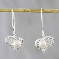 Cultured pearl dangle earrings, 'Heart of the Sea' - Heart-Shaped Cultured Pearl Dangle Earrings from Thailand
