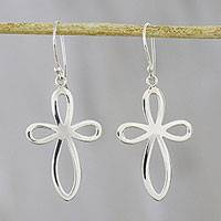 Sterling silver dangle earrings, 'Looping Crosses' - Looping Cross Sterling Silver Dangle Earrings from Thailand