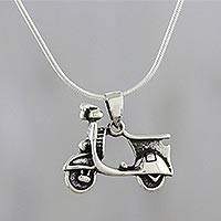 Sterling silver pendant necklace, 'Charming Scooter' - Scooter Sterling Silver Pendant Necklace from Thailand