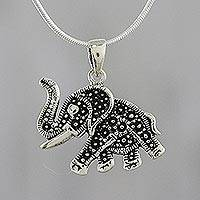 Sterling silver pendant necklace, 'Dark Elephant' - Elephant Sterling Silver Pendant Necklace from Thailand