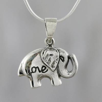 Sterling silver pendant necklace, 'Elephant Adoration' - Thai Elephant Themed Sterling Silver Pendant Necklace