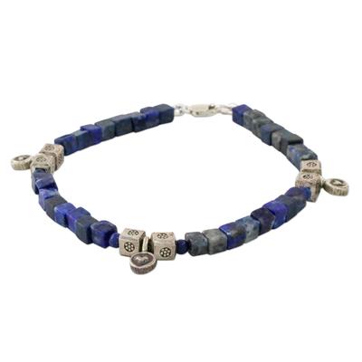 Lapis Lazuli and Karen Silver Beaded Bracelet from Thailand