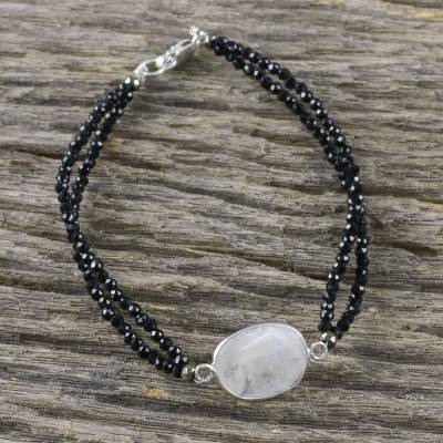 Rainbow moonstone beaded pendant bracelet, Moon Lover
