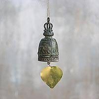Brass decorative bell, 'Elephant Song' - Recycled Decorative Brass Bell with Elephant Motif