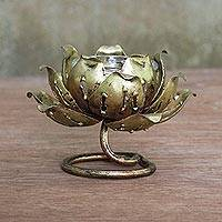 Brass tealight candle holder, 'Lotus Glow' - Floral Brass Tealight Holder from Thailand