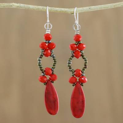 Beaded dangle earrings, 'Exciting Adventure in Red' - Red Calcite and Glass Dangle Earrings from Thailand