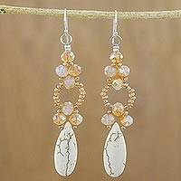 Beaded dangle earrings, 'Exciting Adventure in White' - White Calcite and Glass Dangle Earrings from Thailand