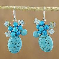 Calcite cluster earrings, 'Blue Holiday Dreams' - Handcrafted Modern Thai Cluster Earrings with Blue Calcite