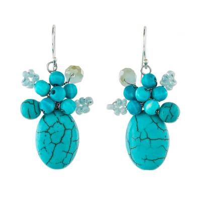 Handcrafted Modern Thai Cluster Earrings with Blue Calcite