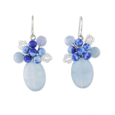 Quartz dangle earrings, 'Dreamy Cluster in Blue' - Quartz and Glass Bead Dangle Earrings from Thailand