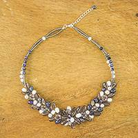 Smoky quartz and cultured pearl beaded necklace, 'Elegant Flora' - Smoky Quartz and Cultured Pearl Necklace from Thailand