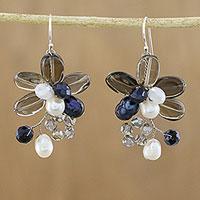 Smoky quartz and cultured pearl dangle earrings Elegant Flora (Thailand)