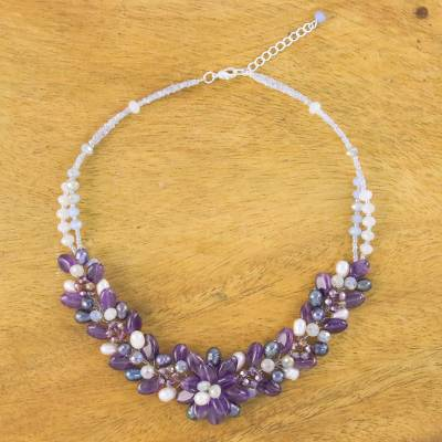 Amethyst and cultured pearl beaded necklace, 'Elegant Flora' - Amethyst and Cultured Pearl Beaded Necklace from Thailand