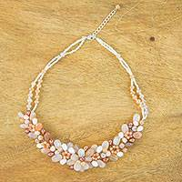Quartz and cultured pearl beaded necklace, 'Elegant Flora' - Quartz and Cultured Pearl Beaded Necklace from Thailand