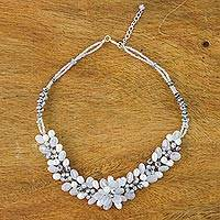 Quartz and cultured pearl beaded necklace, 'Elegant Flora in White' - White Quartz and Pearl Beaded Necklace from Thailand