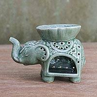 Ceramic oil warmer, 'Fragrant Elephant' - Elephant-Shaped Ceramic Oil Warmer from Thailand