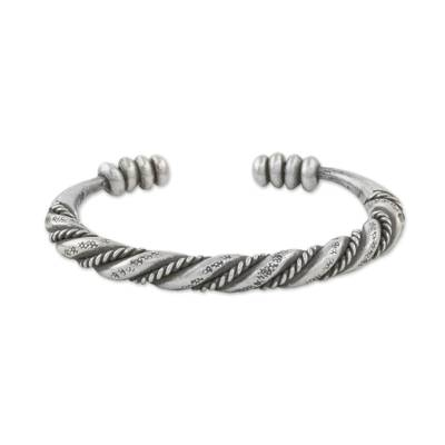 Handmade Sterling Silver Thai Hill Tribe Cuff Bracelet