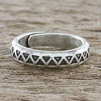 Sterling silver wrap ring, 'Hill Tribe Triangle' - Handmade Unisex Sterling Silver Wrap Ring from Thailand