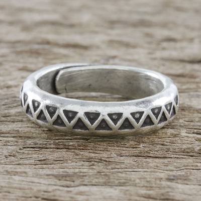 silver ring necklace ideas - Handmade Unisex Sterling Silver Wrap Ring from Thailand