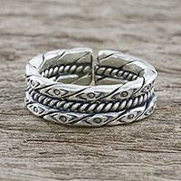 Sterling silver wrap ring, 'Exotic Eye' - Handmade Unisex Sterling Silver Wrap Ring from Thailand